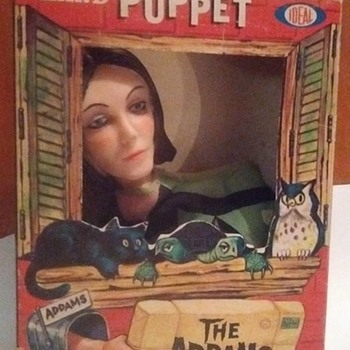 Just picked this up today !!!! 1960's Morticia Addams Puppet with original box - Toys
