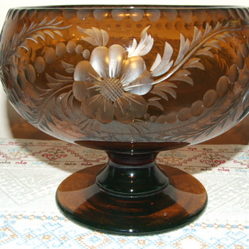 Bohemian Amber Uranium Cut Glass Bowl - Glassware