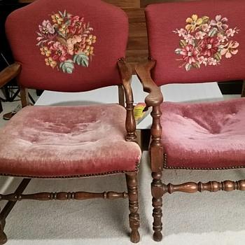 Burgundy velvet chair with needlepoint backs.  - Furniture