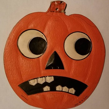 Scared Halloween  Jack-O'-Lantern Paper Diecuts, Made in U.S.A., ca 1930s-1940s - Advertising