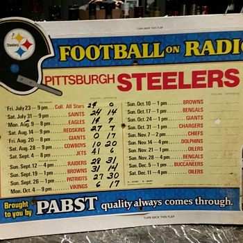 1976 Pittsburgh Steelers - Pabst Blue Ribbon Bar Schedule - Football