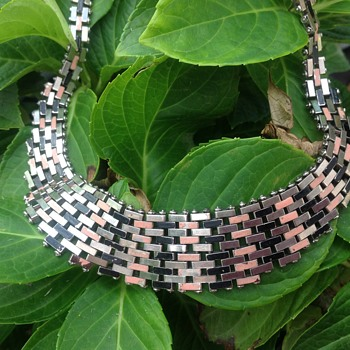 Jakob Bengel Brickwork Chrome Necklace - Art Deco