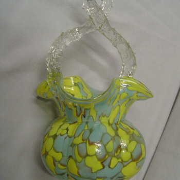 Surprise, a Kralik yellow and blue spatter glass basket, advertised only once in 1931, by Butler Brothers - Art Glass