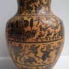Unusual Black & Red Clay Decorated Vase - Maker Unknown
