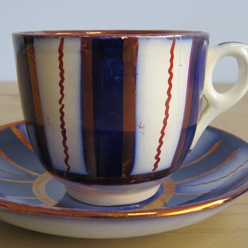 Gaudy Welsh Cartwheel Pattern Cup and saucer - China and Dinnerware