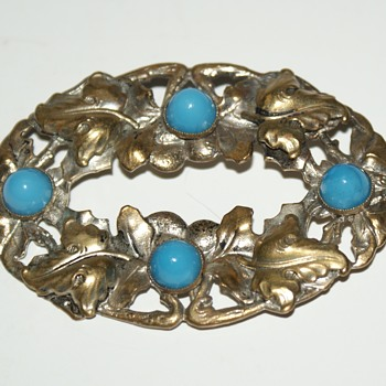 Vintage Stamped Brass and Glass Cabochons Brooch - Costume Jewelry