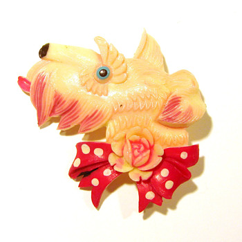 Vintage Celluloid Scottie Dog Pin - Occupied Japan - Costume Jewelry