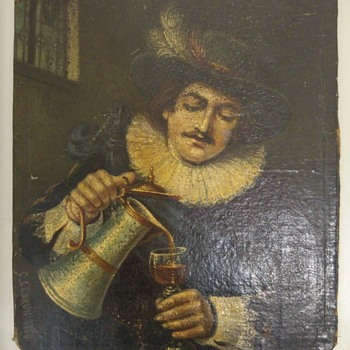 """Self portrait of nobleman drinking wine"" - C. Lebrun 1756  - Fine Art"
