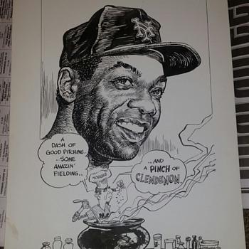 1970 Bruce Stark Original art Mets 69 Mvp Clendenon