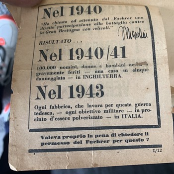 Estate Find Foreign Military  WW2-Propagaanda Dropped by U.S.A.A.F.  on Italian Troops  - Military and Wartime