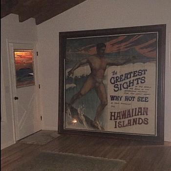 Vintage Original 1915-1925 Hawaii Surfing Travel Print Duke Kahanamoku Surf 20s - Advertising