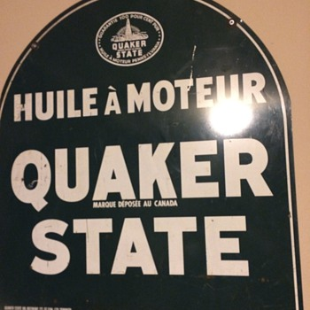 Quaker State 2 language tombstone sign