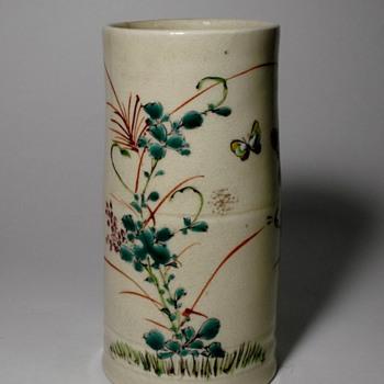 19th Century Japanese Enameled Earthenware Brush Pot - Asian