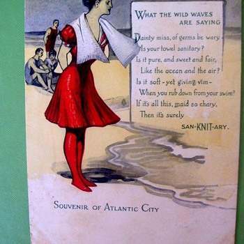 "Pre 1907 GIBSON GIRL AT SEASHORE ADVERTISING POSTCARD ""SANITARY TOWELS"" NUTTY!! - Postcards"