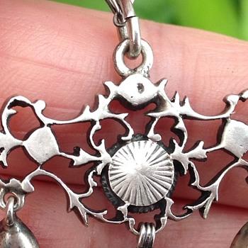 Austro - Hungarian Silver Agate and Garnet Pendant - Art Nouveau
