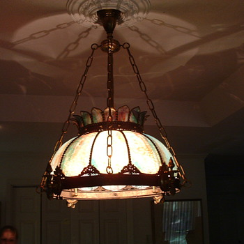 Slag glass drop light from family estate - Lamps
