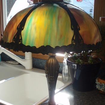 Antique Slag Glass Lamp