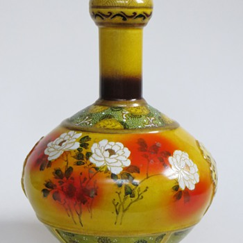 Japanese or Chinese Pottery Vase w/Handpainted Floral Design & Enamel Ornament - Asian
