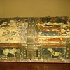 Antique Painted Leather Covered Jewelry Trunk