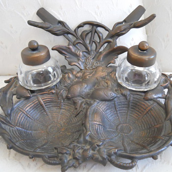 Brass Inkwell Carp Fish need maker Germany? - Victorian Era