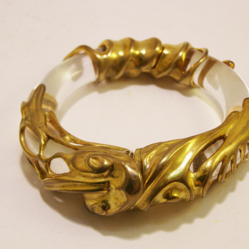 Vintage Inna Cytrine Paris Gilded Modernist Clear Lucite Bangle - Costume Jewelry