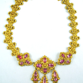 Georgian Pink Topaz Repoussé Necklace - Fine Jewelry