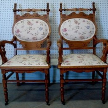 Victorian Chairs, pair  oval - Furniture