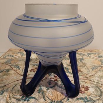 Blue and White Tripod Vase - Art Glass