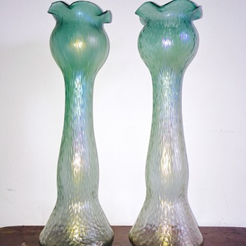 Rindskopf Green to Opalescent Martele Hyacinth Iridescent Pair Vases  - Art Glass