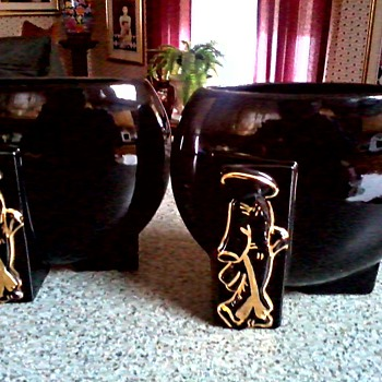 "Joan Lea Creations""Shanghai"" Vases/Fredericksburg Art Pottery Co. Ohio  ""FAPCO""/ 22kt Gold Asian Figures / Circa 1940's-50's - Pottery"