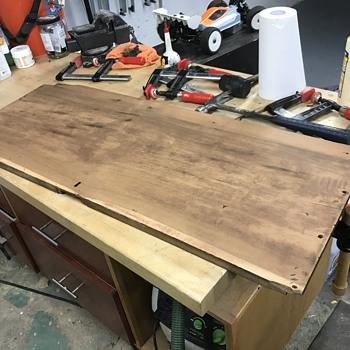 (1930's) vintage old growth wood footlocker chest - Furniture