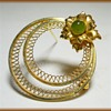 Gold Wreath Filigree Brooch - Marked