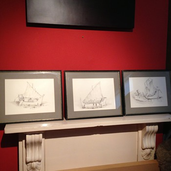 3 nice hand drawing by Lincoln seligman 1979 - Fine Art