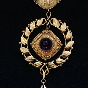 Arts & Crafts gold amethyst pendent necklace. - Fine Jewelry
