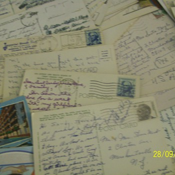 202 vintage postcards with postmarks and stamps from world wide to the usa - Postcards