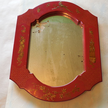 Old Red Lacquer Framed Mirror - Asian