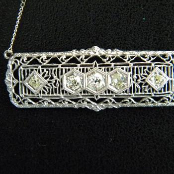 Antique Art Deco Old Mine Cut Diamond Filigree 18k Necklace For Valentino97