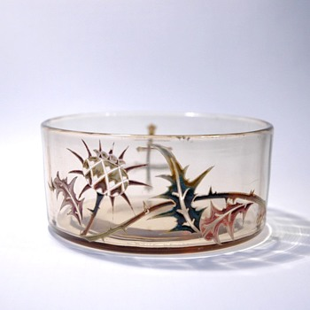 early EMILE GALLE  thistle enamel cup. circa 1884 - Art Nouveau