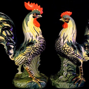 MAJESTIC ROOSTER AND HEN - Pottery