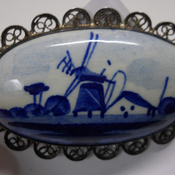Vintage, Dutch Delft Sterling Silver, Oval Windmill Brooch, 1960-70fi  - Fine Jewelry