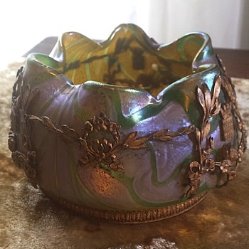 Bohemian iridescent metal mounted vase - Art Glass