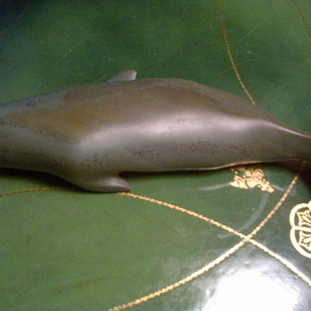 Inuit soapstone whale.