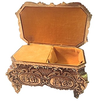 Ornate Gold Metal Velvet Lined Jewelry Casket