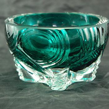 Teal Cased Glass Bowl - Art Glass