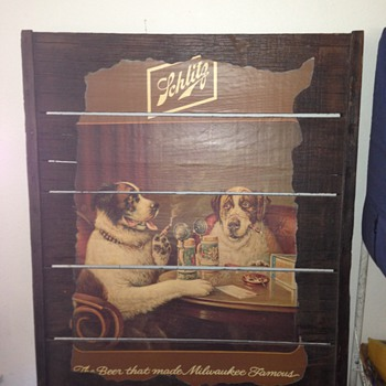 Schlitz Malt Liquor painting of two dogs drinking beer - Breweriana