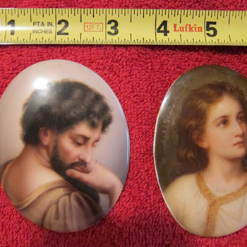 KPM? Or KPM style pair of superb quality miniature paintings on porcelain oval plaque. - Pottery