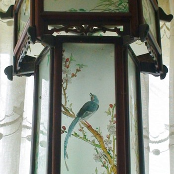 Vintage~Wood Hand Painted Glass Pagoda Chinese Lantern - Lamps