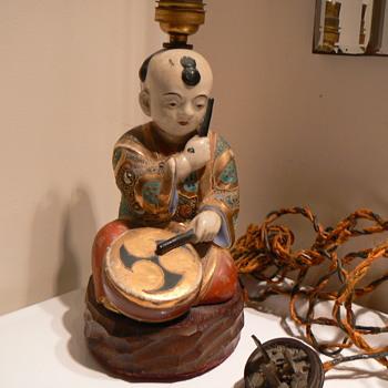 antique ceramic drummer boy electric lamp - Asian