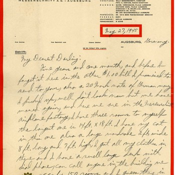 WW2 US Soldiers letter home on Messerschmitt Factory Letterhead