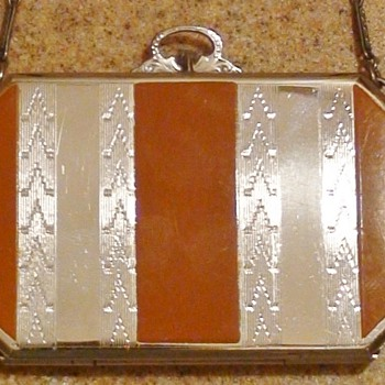"Art Deco Era Striped Elgin  Compact Wristlet With ""EAM"" Mark With  Arrow - Art Deco"